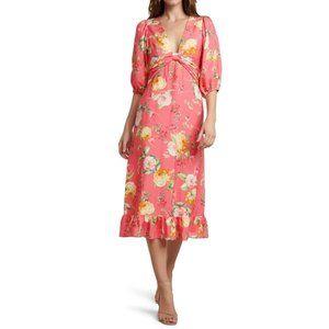 NWT EVER NEW Coral Garden Linen Floral Dress 2